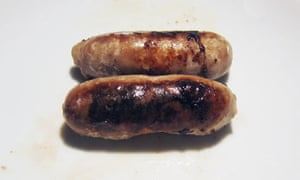 Sausages, poached then fried