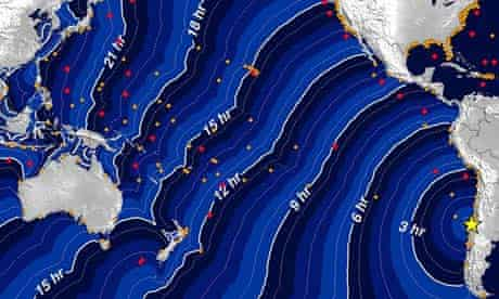 Chart of the Chile tsunami's travel time