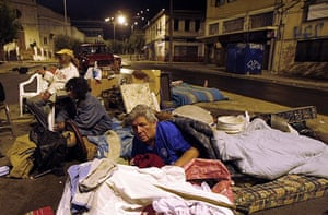 Chile Earthquake: Residents sleeps in the streets following a Chile earthquake