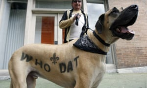 A New Orleans Saints fan and his dog with Who Dat sprayed on the side