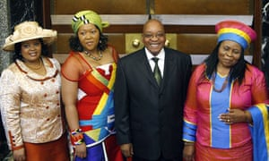 South African president Jacob Zuma with his three wives.
