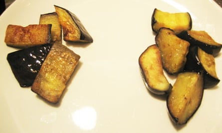 Salted and unsalted aubergine