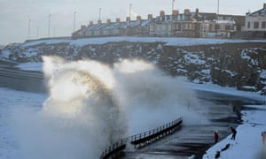Snow and high seas at Whitley Bay