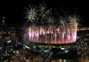 Olympics : Fireworks explode over the BC Place after the closing ceremony
