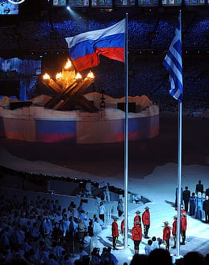 Olympics : The Russian flag is raised