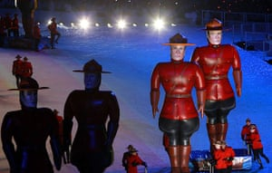Olympics : Artists dressed as Royal Canadian Mounted police