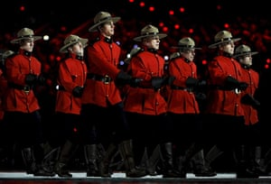 Olympics : Royal Canadian Mounted Police officers parade
