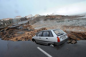 Storm damage in Europe: A coastal road is partially destroyed near L'Aguillon sur Mer, France