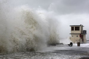 Storm damage in Europe: High waves hit the waterfront in Ver-sur-Mer village, western France