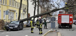 Storm damage in Europe: Firemen try to remove a tree which fell onto a car  in Mainz, Germany