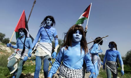 Palestinian protesters dressed as characters from Avatar, February 2010