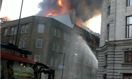 Fire in Tabernacle Street, Shoreditch, east  London