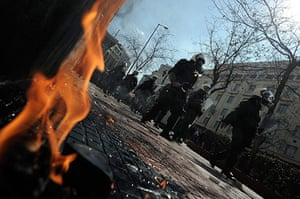 more strikes in greece: Protesters clash with riot police during a demonstration in central Athens