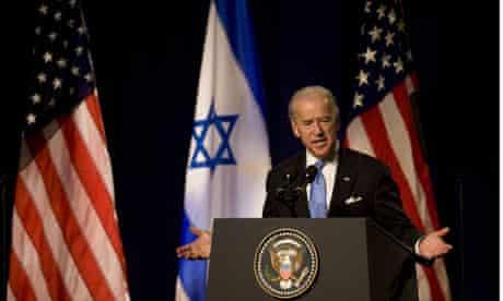 US vice-president Joe Biden speaking at Tel Aviv University
