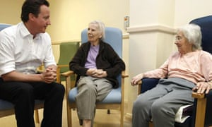 David Cameron conservative party leader hospital elderly patients old lady