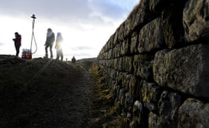 Hadrian's Wall: Volunteers prepare to light a beacon  at Steel Rigg, Northumberland