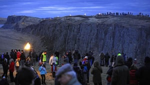 Hadrian's Wall: Spectators gather across the Pennine hillsides