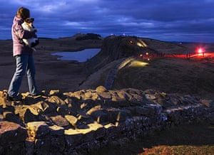 Hadrian's Wall: The Illuminating Hadrians Wall event at Crag Lough, Steel Rigg