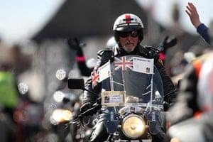 Wootton Bassett bikers: Bikers ride through Wootton Bassett during a mass motorcycle ride