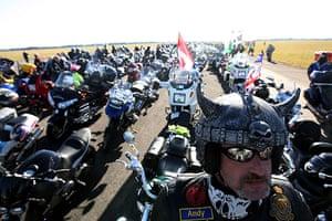 Wootton Bassett bikers: Bikers set off from Hullavington airfield