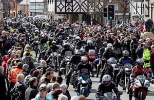 Wootton Bassett bikers: Some of the 10,000 bikers riding in support of the armed forces