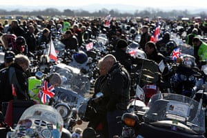 Wootton Bassett bikers: Bikers prepare to take part in the mass ride from Hullavington Airfield