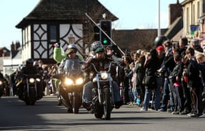 Wootton Bassett bikers: Bikers take part in a mass motorcycle ride in aid of charity Afghan Heroes