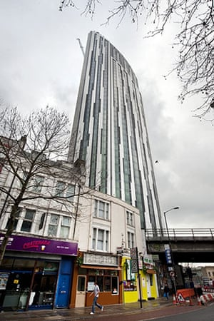 The Strata building: a newly completed tower block in Elephant and Castle, with 3 wind turbines
