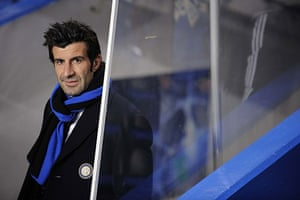 Chelsea v Inter: Former Inter player Luis Figo in the tunnel before the game