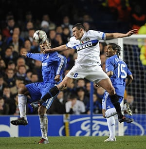 Chelsea v Inter: Lucio challenges Drogba