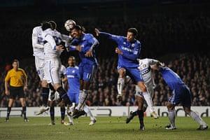 Chelsea v Inter: Drogba heads clear a free kick