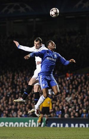 Chelsea v Inter: Goran Pandev rises above John Mikel Obi to win the header