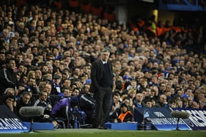 Chelsea v Inter: A glum looking Carlo Ancelloti watches the action
