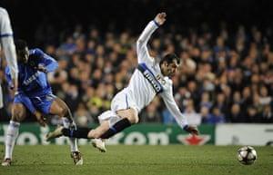 Chelsea v Inter: Goran Pandev tripped by John Mikel Obi