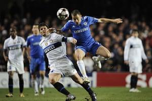 Chelsea v Inter: Joe Cole challenges Javier Zanetti