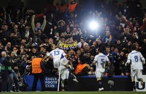 Chelsea v Inter: The Inter fans go wild as Eto'o celebrates in front of them