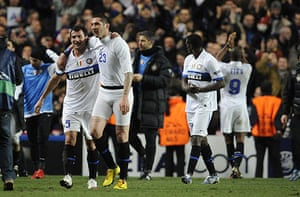 Chelsea v Inter: Marco Matterazzi has lost his shorts during Inter's victory celebration