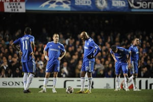 Chelsea v Inter: Dejected Chelsea players following Inter's goal