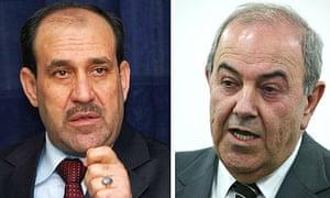 The Iraqi prime minister, Nouri al-Maliki (left) and former prime minister Iyad Allawi