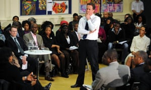 David Cameron speaks at an event in Peckham, south London, on 17 March 2010.