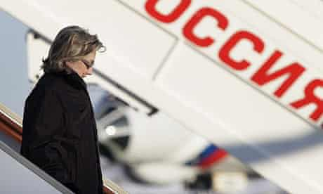 The US secretary of state, Hillary Clinton, arrives in Moscow