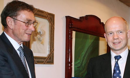Lord Ashcroft and William Hague in Islamabad in December 2006.