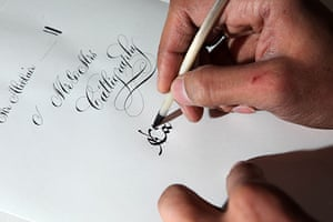 Disappearing Acts: Calligrapher Paul Antonio with pens ink and paper in his studio