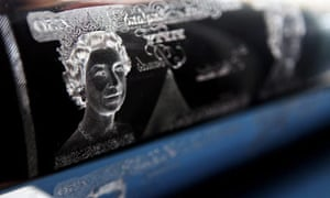 A portrait of Queen Elizabeth II on an intaglio printing plate in the Bank of England Museum.