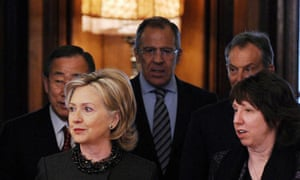 Hillary Clinton and Lady Ashton with others in Moscow