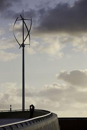 Wind energy: Vertical axis wind turbine in Liverpool
