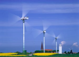 Wind energy: Wind turbines in an agriculture landscape
