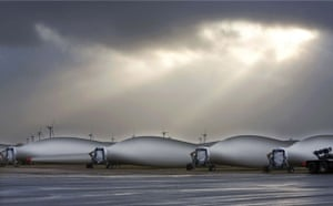 Wind energy: Completed wind turbine blades at the Vestas blade factory in Lem, Denmark