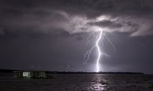 Catatumbo lightning over Lake Maracaibo in Venezuela.