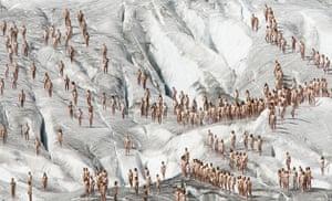 Spencer Tunick: The Aletsch glacier, Switzerland
